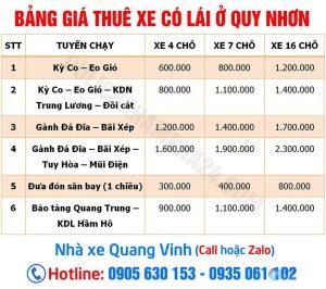 Bảng Báo Giá mướn xe ô tô tham quan du lịch có tài ở Quy Nhơn theo ngày