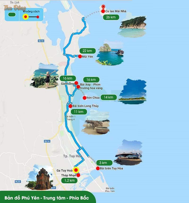 phiên bản đồ du lịch Phú Yên – Phía Bắc