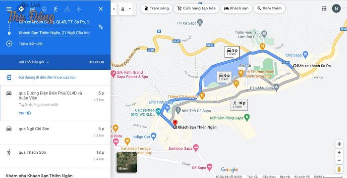 Khách sạn Thiên Ngân cách bến xe Sapa 1.5km